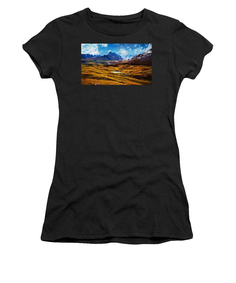 Landscape Women's T-Shirt (Athletic Fit) featuring the painting Painting Landscape by World Map