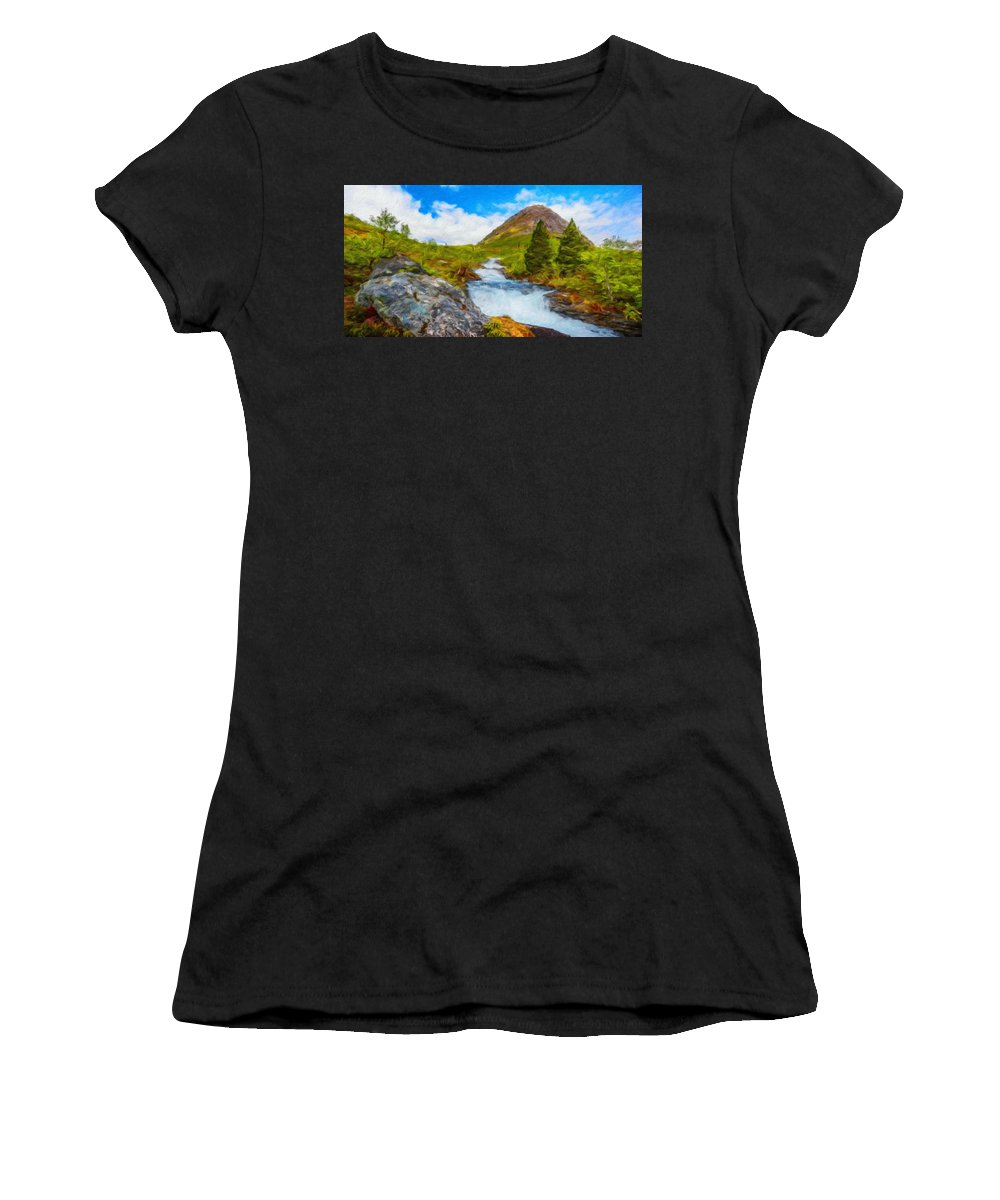 Landscape Women's T-Shirt (Athletic Fit) featuring the painting Nature Painted Landscape by World Map