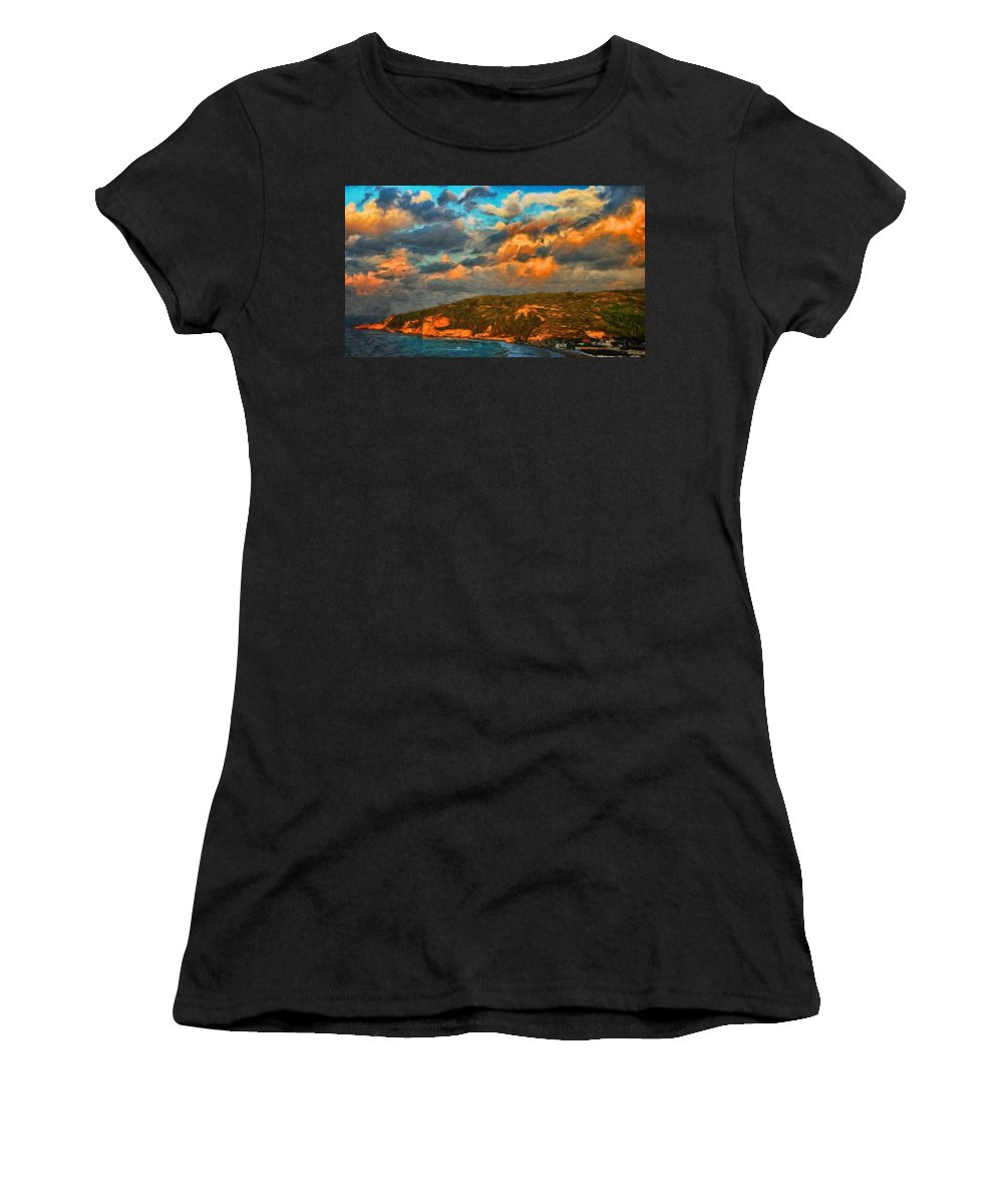 Landscape Women's T-Shirt (Athletic Fit) featuring the painting Nature Landscape Oil Painting by World Map
