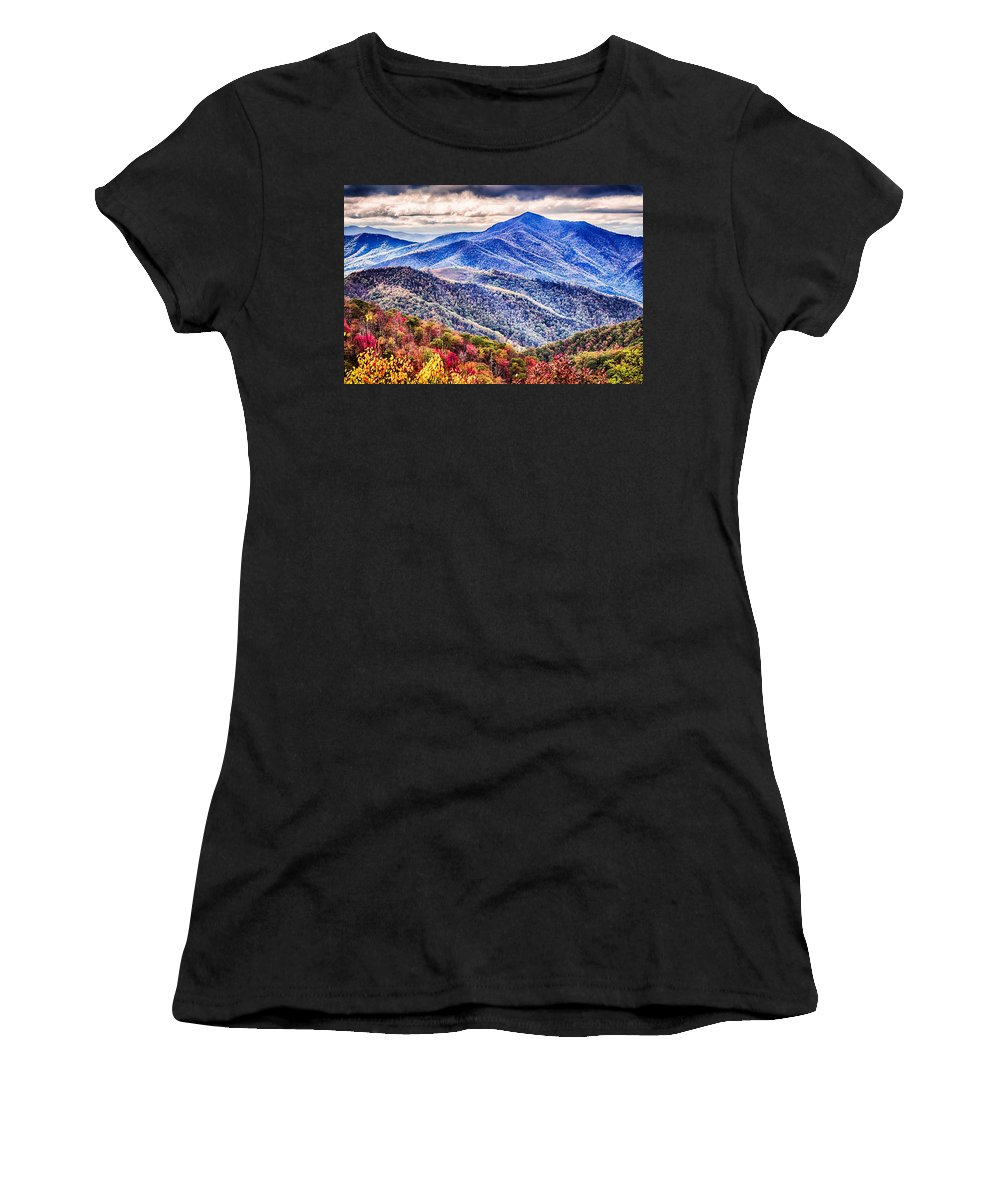 Mountain Women's T-Shirt (Athletic Fit) featuring the photograph Autumn Season On Blue Ridge Parkway by Alex Grichenko