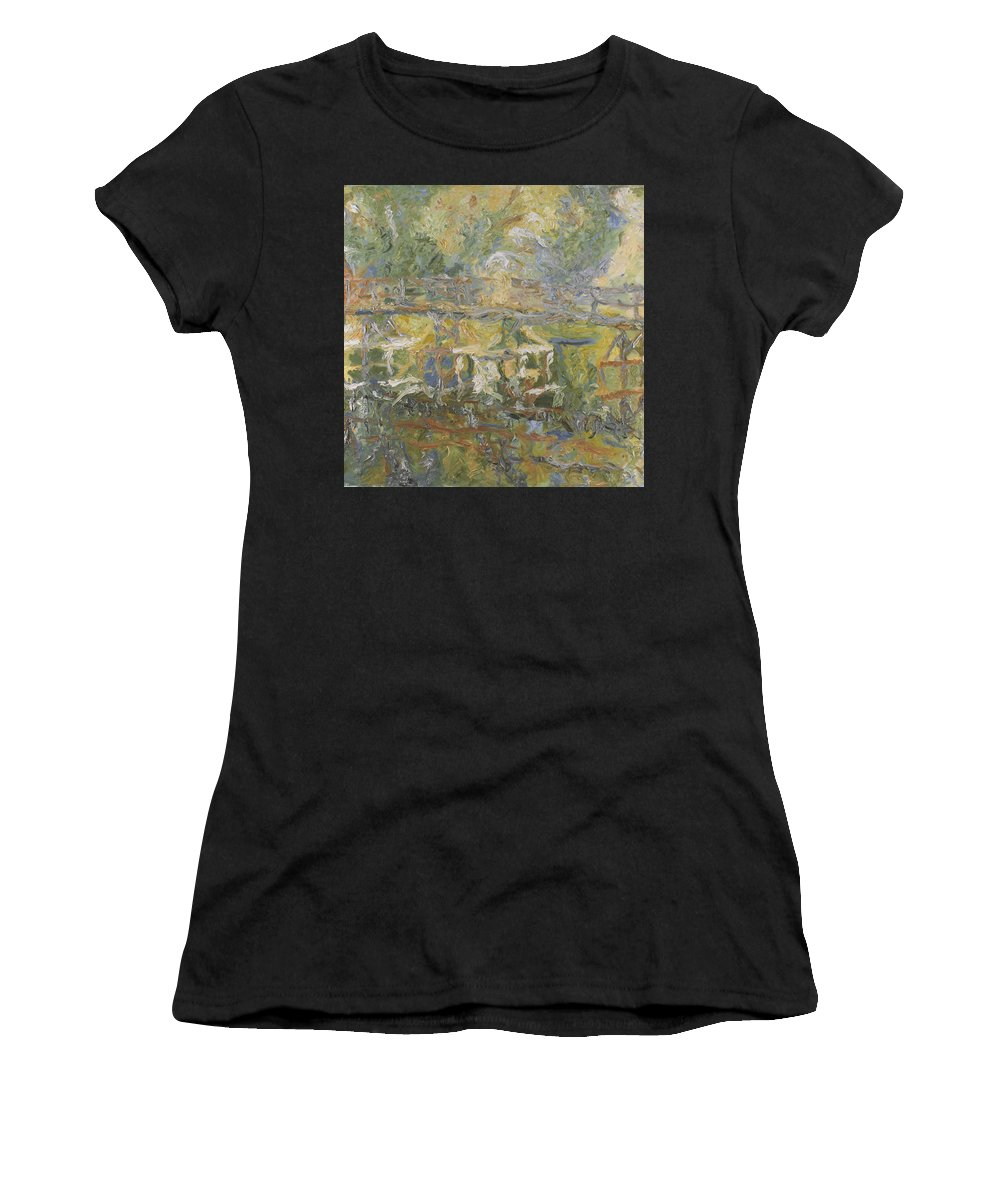 River Women's T-Shirt featuring the painting Bridge by Robert Nizamov