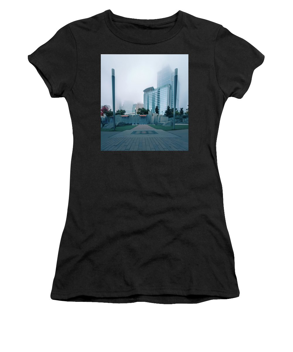 City Women's T-Shirt featuring the photograph Charlotte North Carolina City Skyline And Downtown by Alex Grichenko