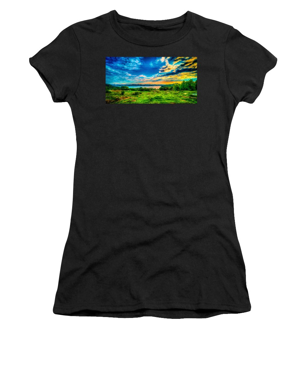 Landscape Women's T-Shirt (Athletic Fit) featuring the painting Nature Oil Painting Landscape Images by World Map