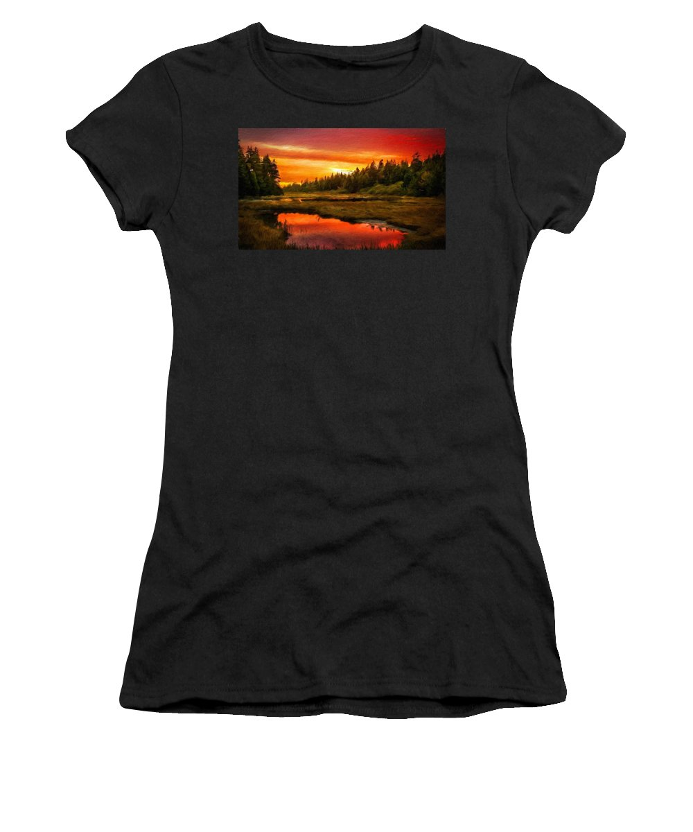 Landscape Women's T-Shirt (Athletic Fit) featuring the painting Landscape On Nature by World Map
