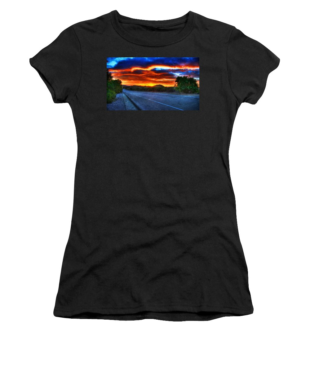 Landscape Women's T-Shirt (Athletic Fit) featuring the painting Landscape Paintings Nature by World Map