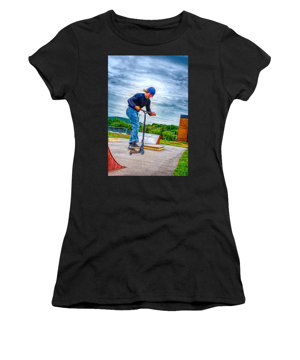Skate Park Day Women's T-Shirt featuring the photograph skate park day, Skateboarder Boy In Skate Park, Scooter Boy, In, Skate Park by Jean-Yves Salou