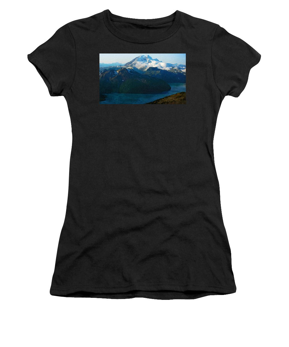 Landscape Women's T-Shirt (Athletic Fit) featuring the painting Oil Paintings Art Landscape Nature by World Map