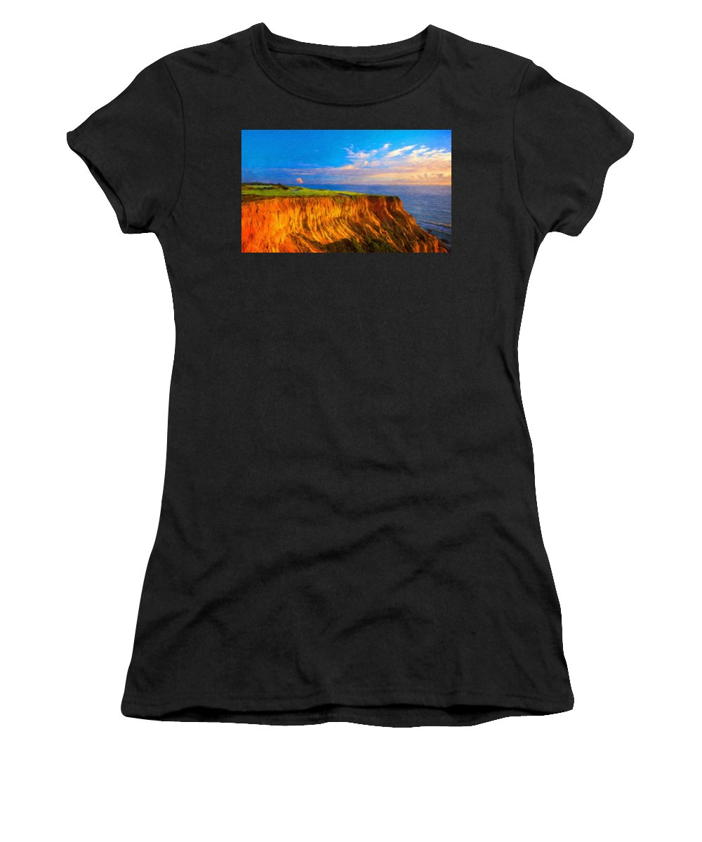 Landscape Women's T-Shirt (Athletic Fit) featuring the painting Nature Landscape Wall Art by World Map