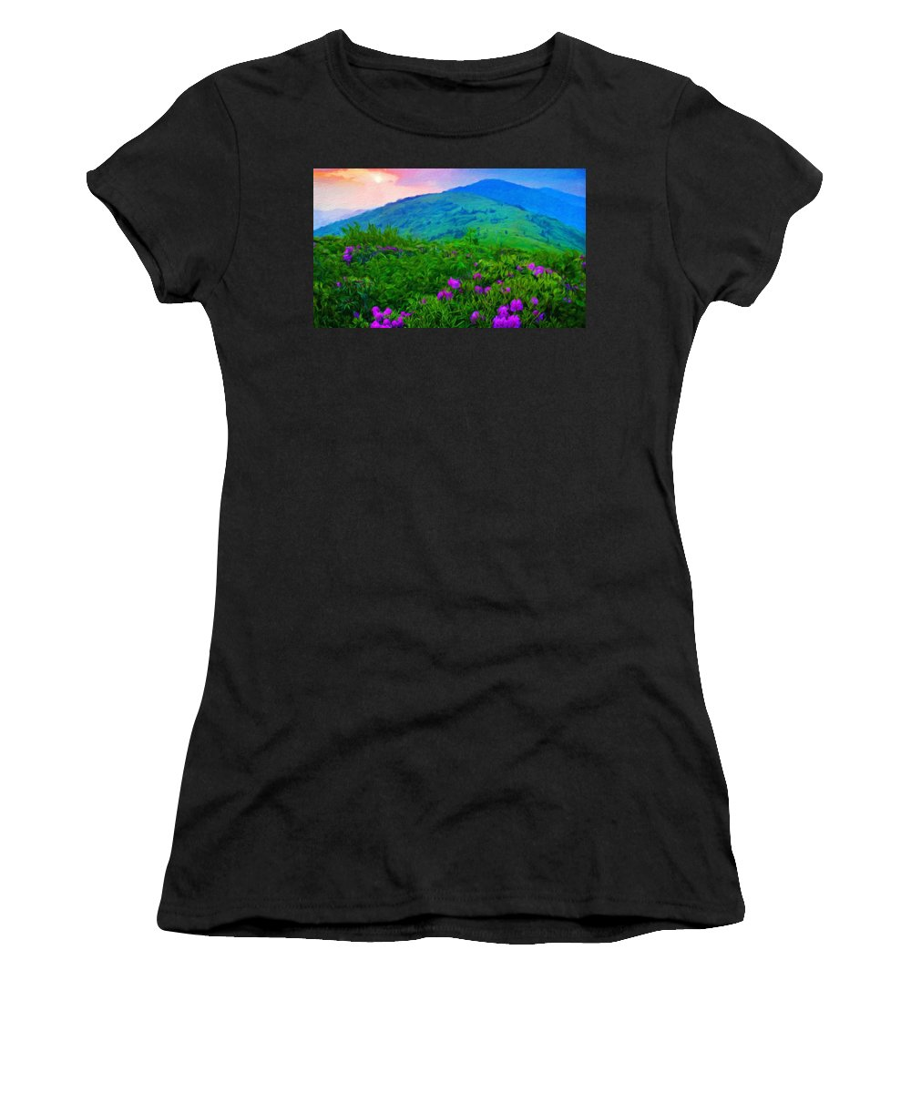Landscape Women's T-Shirt (Athletic Fit) featuring the painting Nature Landscape Illumination by World Map