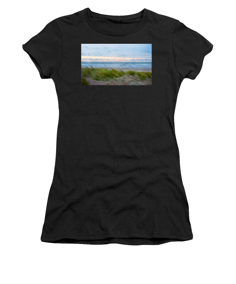 Landscape Women's T-Shirt (Athletic Fit) featuring the painting Nature Landscape Oil by World Map