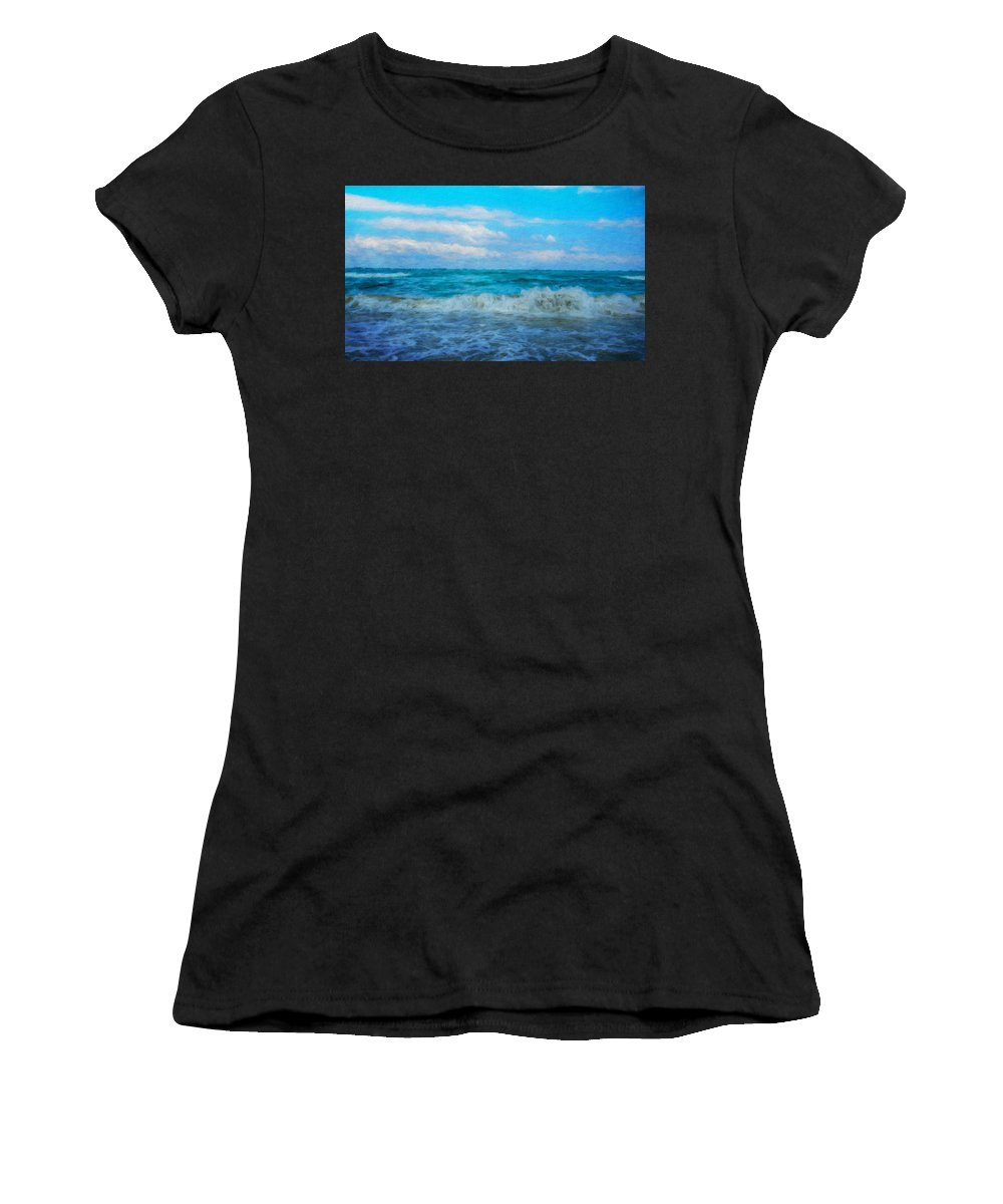 Landscape Women's T-Shirt (Athletic Fit) featuring the painting Nature Landscape Paintings by World Map