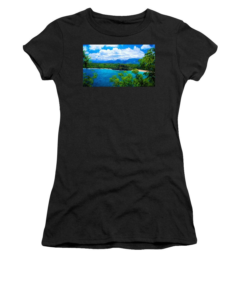 Landscape Women's T-Shirt (Athletic Fit) featuring the painting Nature Landscape Lighting by World Map