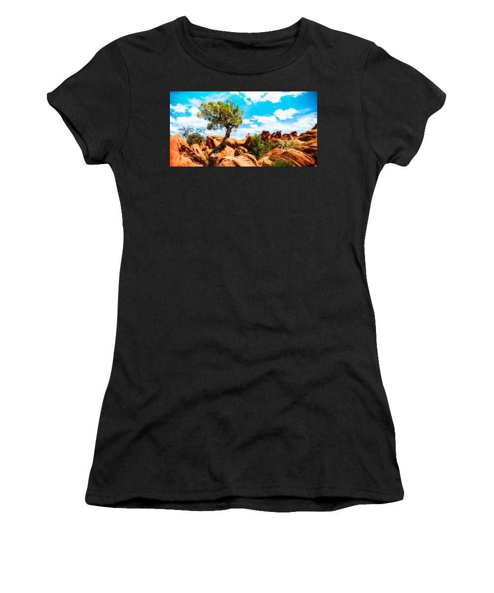 Landscape Women's T-Shirt (Athletic Fit) featuring the painting Nature Oil Painting Landscape by World Map