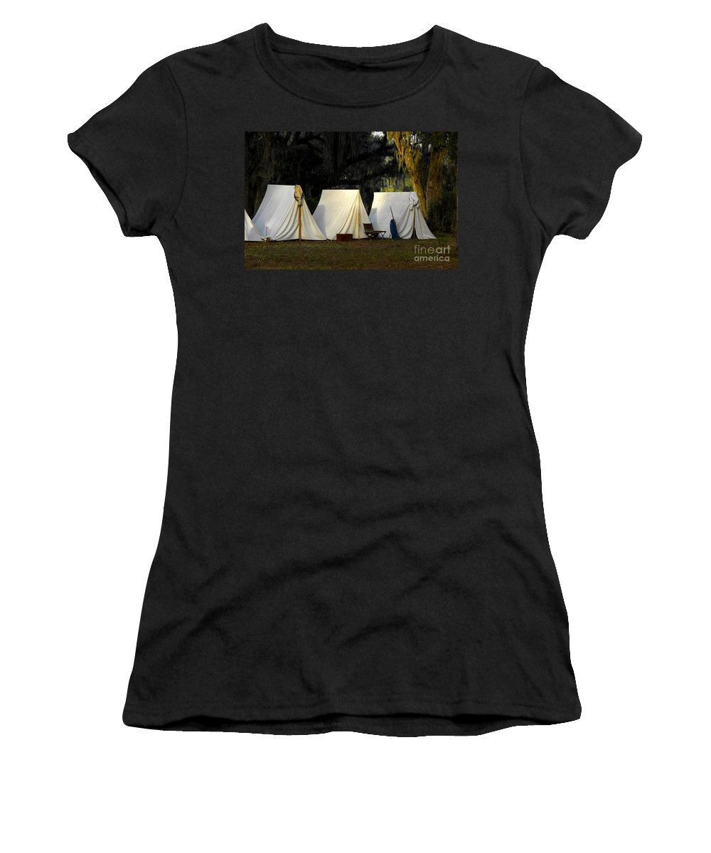 Army Tents Women's T-Shirt (Athletic Fit) featuring the photograph 1800s Army Tents by David Lee Thompson