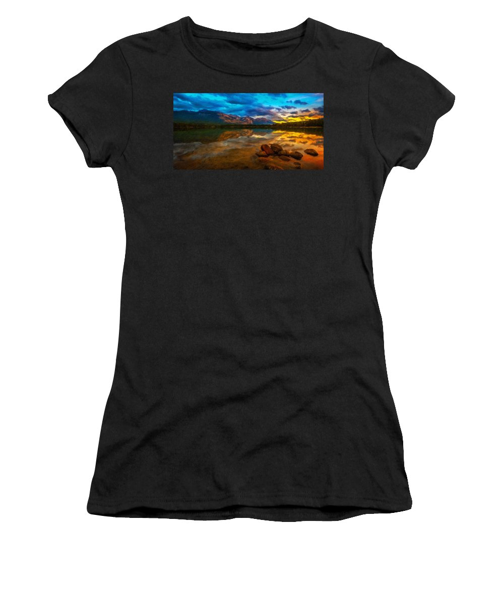 Landscape Women's T-Shirt (Athletic Fit) featuring the painting Landscape Nature Drawing by World Map