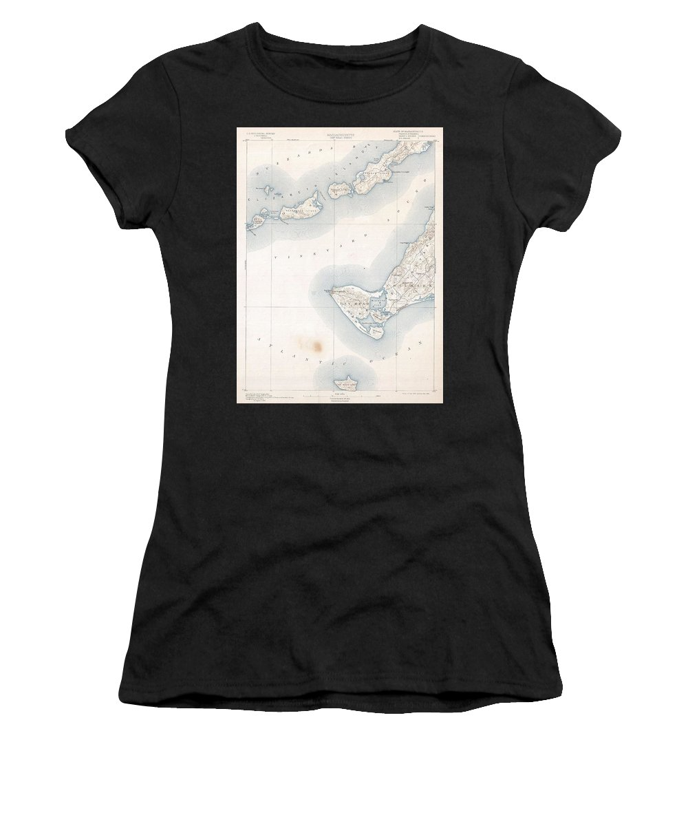 1898 U.s. Geological Survey Map Of Gay Head Women's T-Shirt (Athletic Fit) featuring the photograph 1898 Us Geological Survey Map Of Gay Head Marthas Vineyard Massachusetts by Paul Fearn