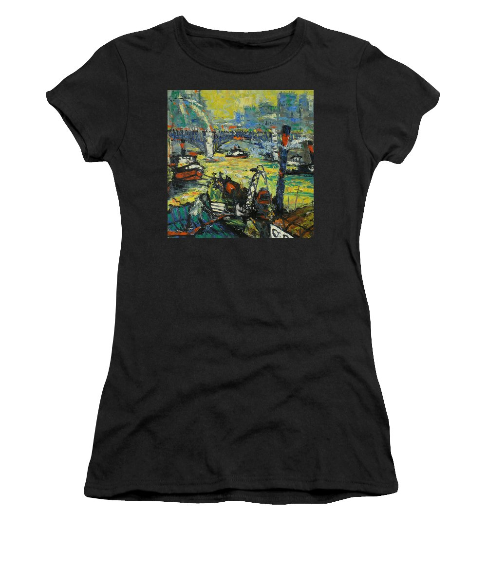 Bay Women's T-Shirt featuring the painting City by Robert Nizamov