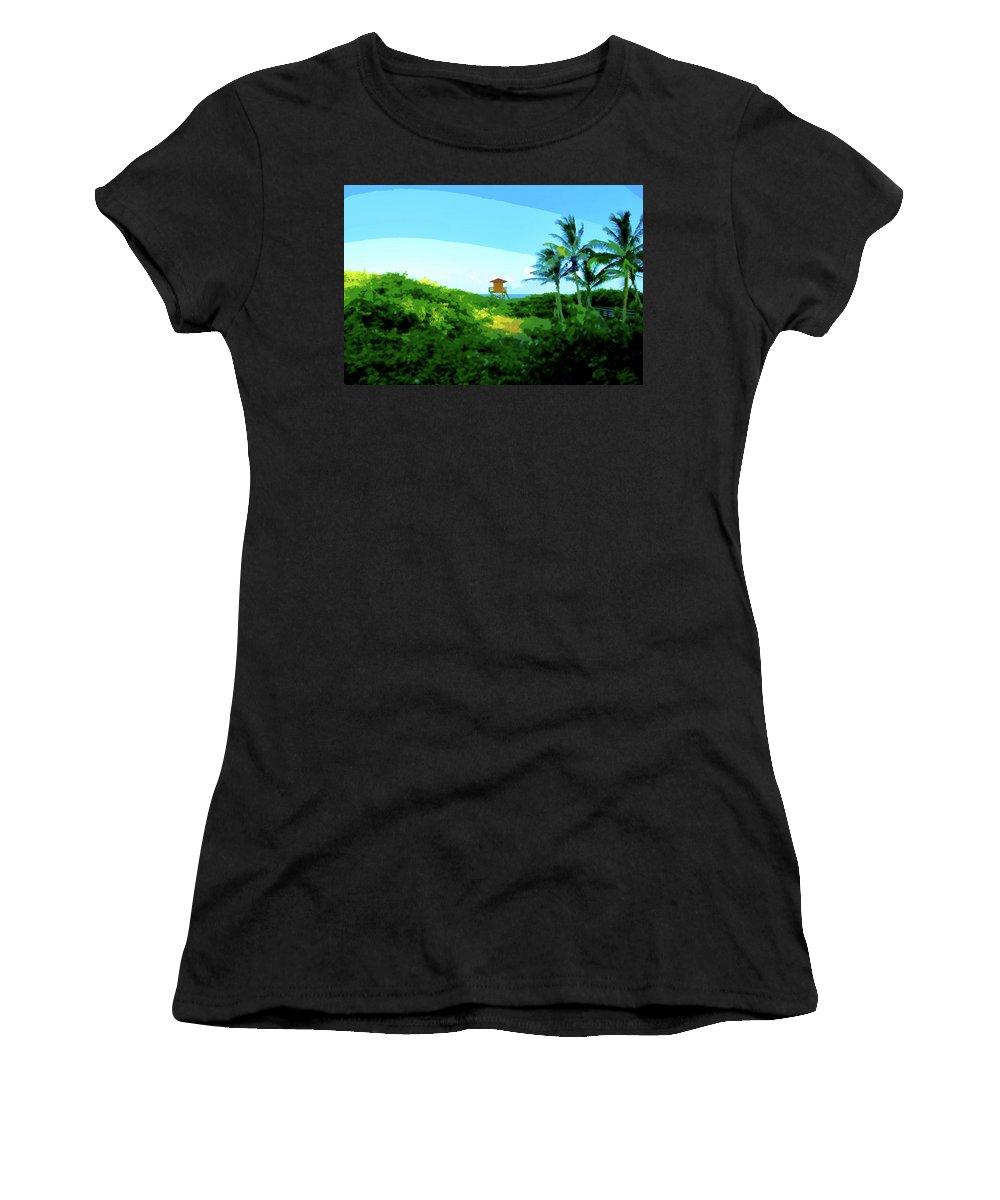 Women's T-Shirt (Athletic Fit) featuring the digital art 19- Shangri La by Joseph Keane