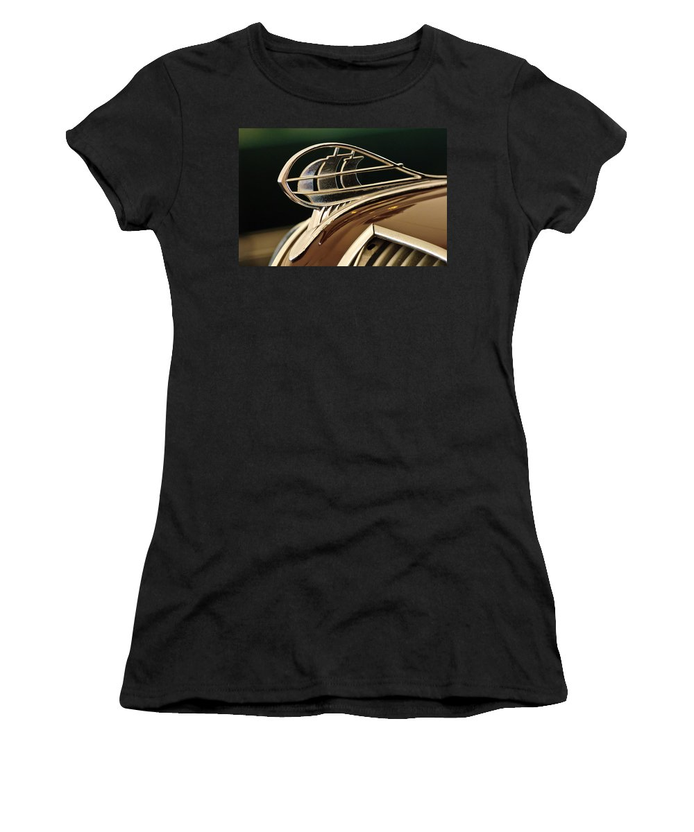 1936 Plymouth Sedan Women's T-Shirt (Athletic Fit) featuring the photograph 1936 Plymouth Sedan Hood Ornament by Jill Reger