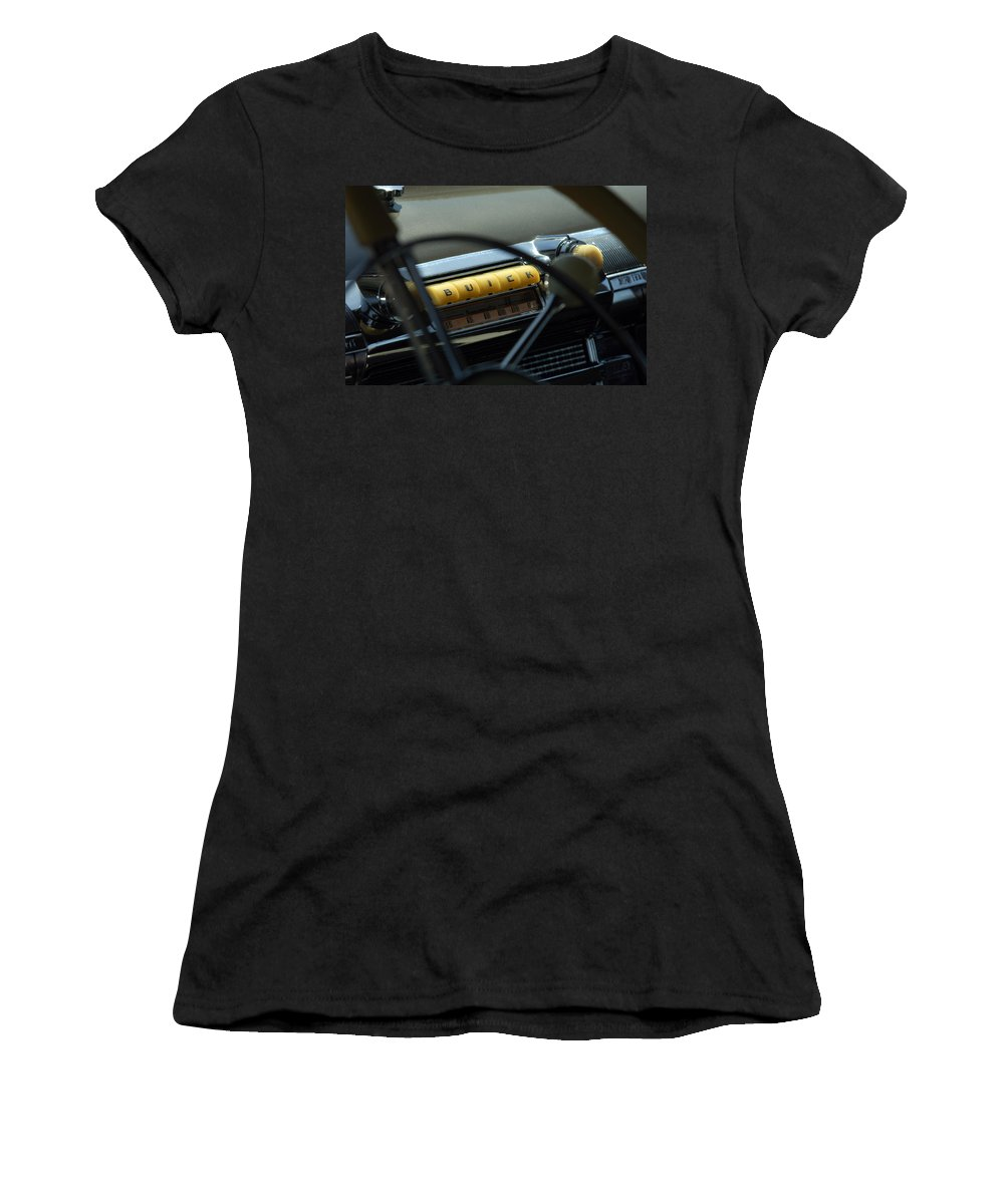 Car Women's T-Shirt featuring the photograph 1947 Buick Super Radio by Jill Reger