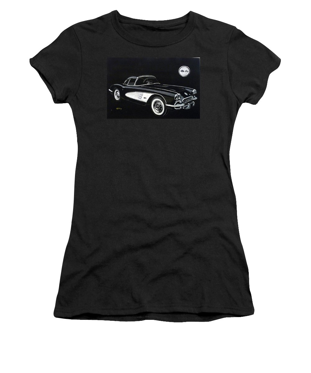 Cars Women's T-Shirt (Athletic Fit) featuring the painting 1958 Chev Corvette by Richard Le Page