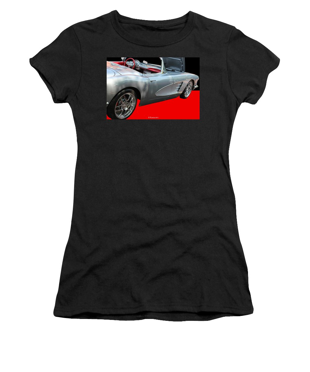1960 Women's T-Shirt (Athletic Fit) featuring the photograph 1960 Corvette Convertible by Betty Northcutt