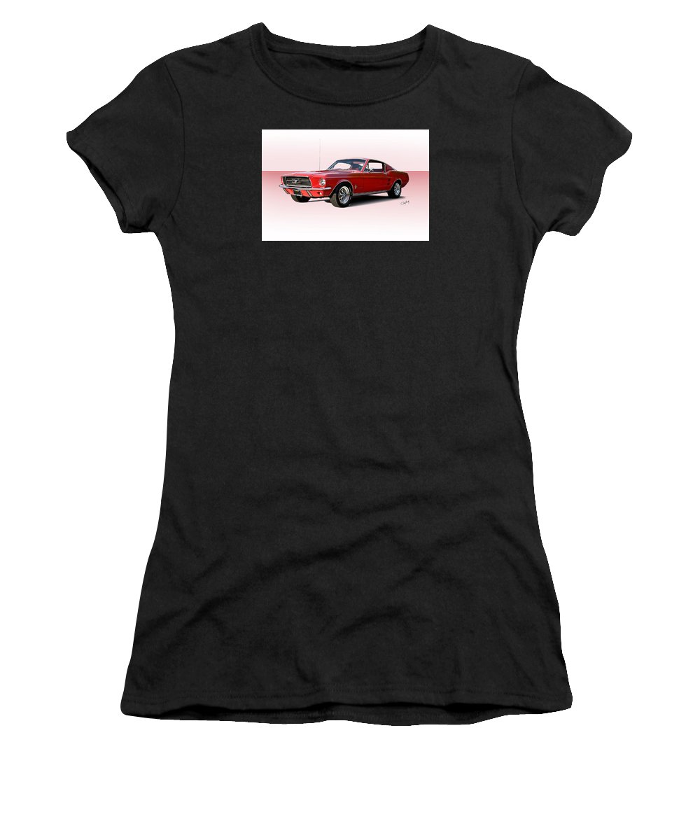 Automobile Women's T-Shirt (Athletic Fit) featuring the photograph 1967 Ford Mustang Fastback by Dave Koontz