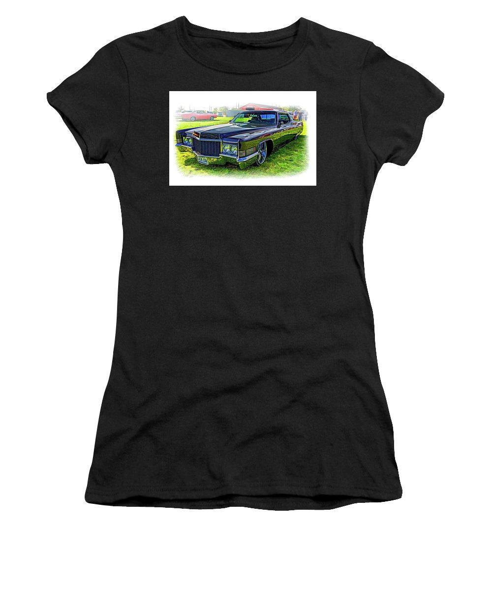Cadillac Women's T-Shirt (Athletic Fit) featuring the photograph 1970 Cadillac Deville - Vignette by Steve Harrington