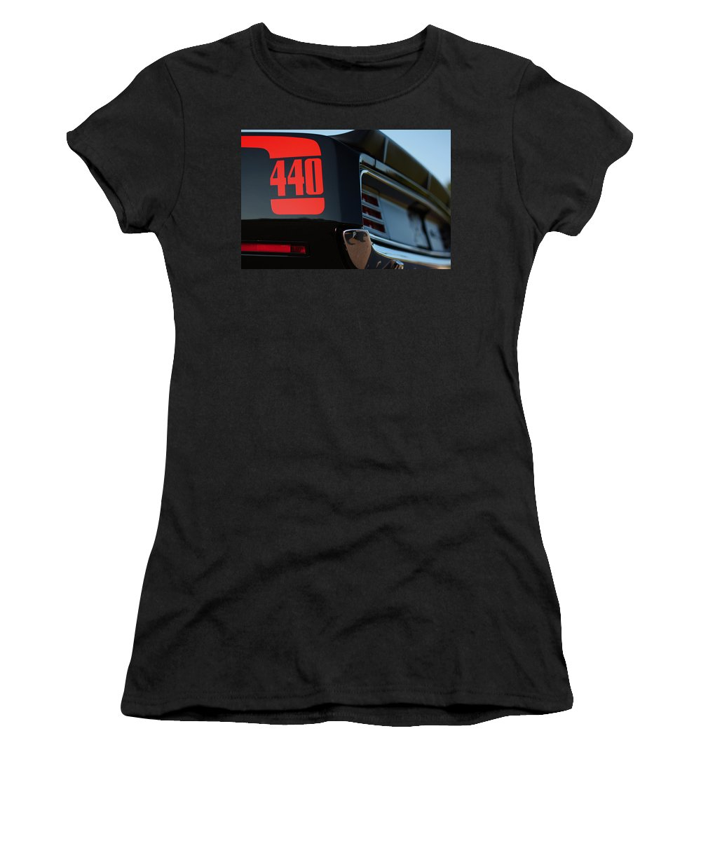 Black Women's T-Shirt (Athletic Fit) featuring the photograph 1970 Plymouth 'cuda 440 by Gordon Dean II