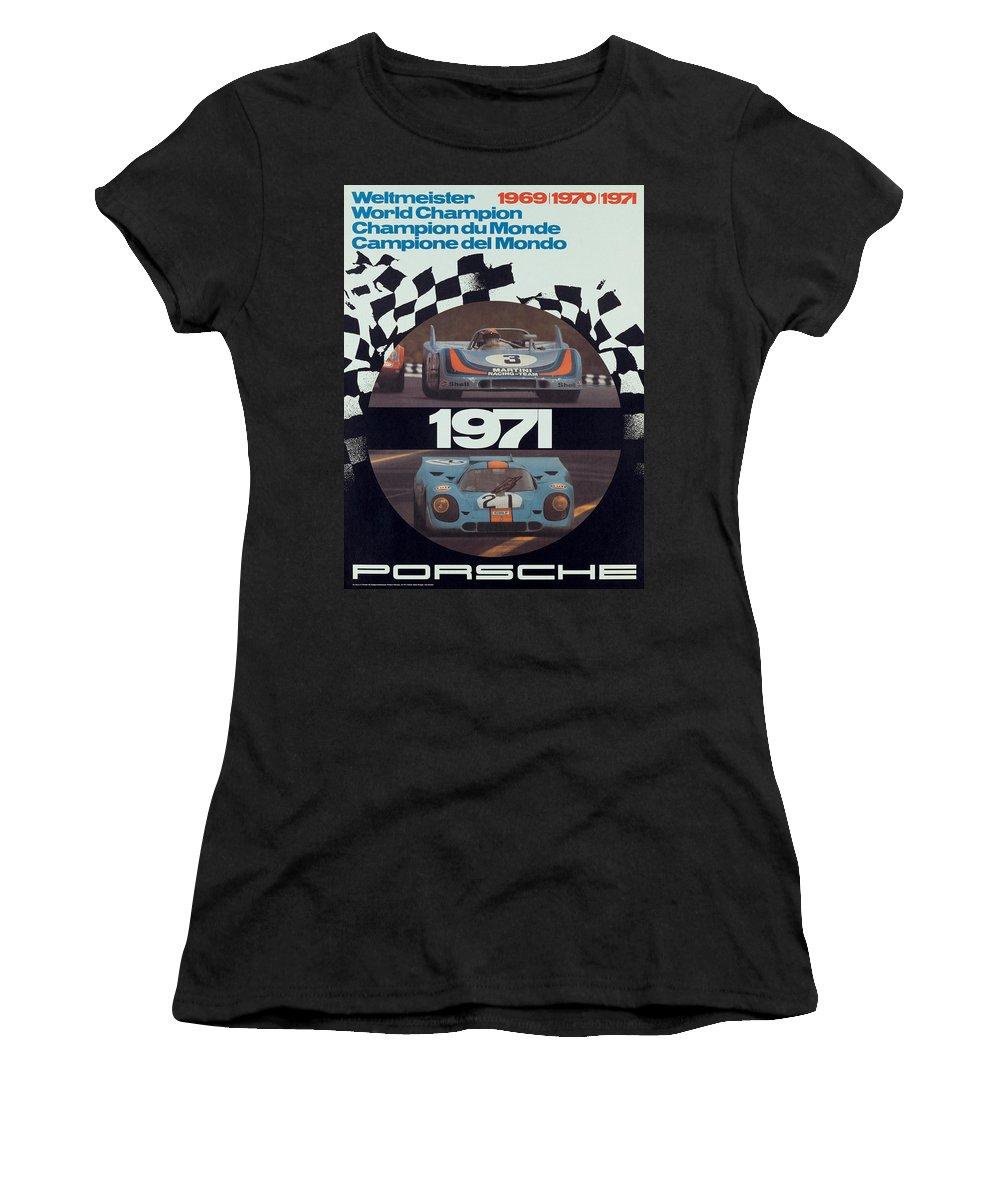 Porsche Women's T-Shirt featuring the digital art 1971 Porsche World Champion Poster by Georgia Fowler