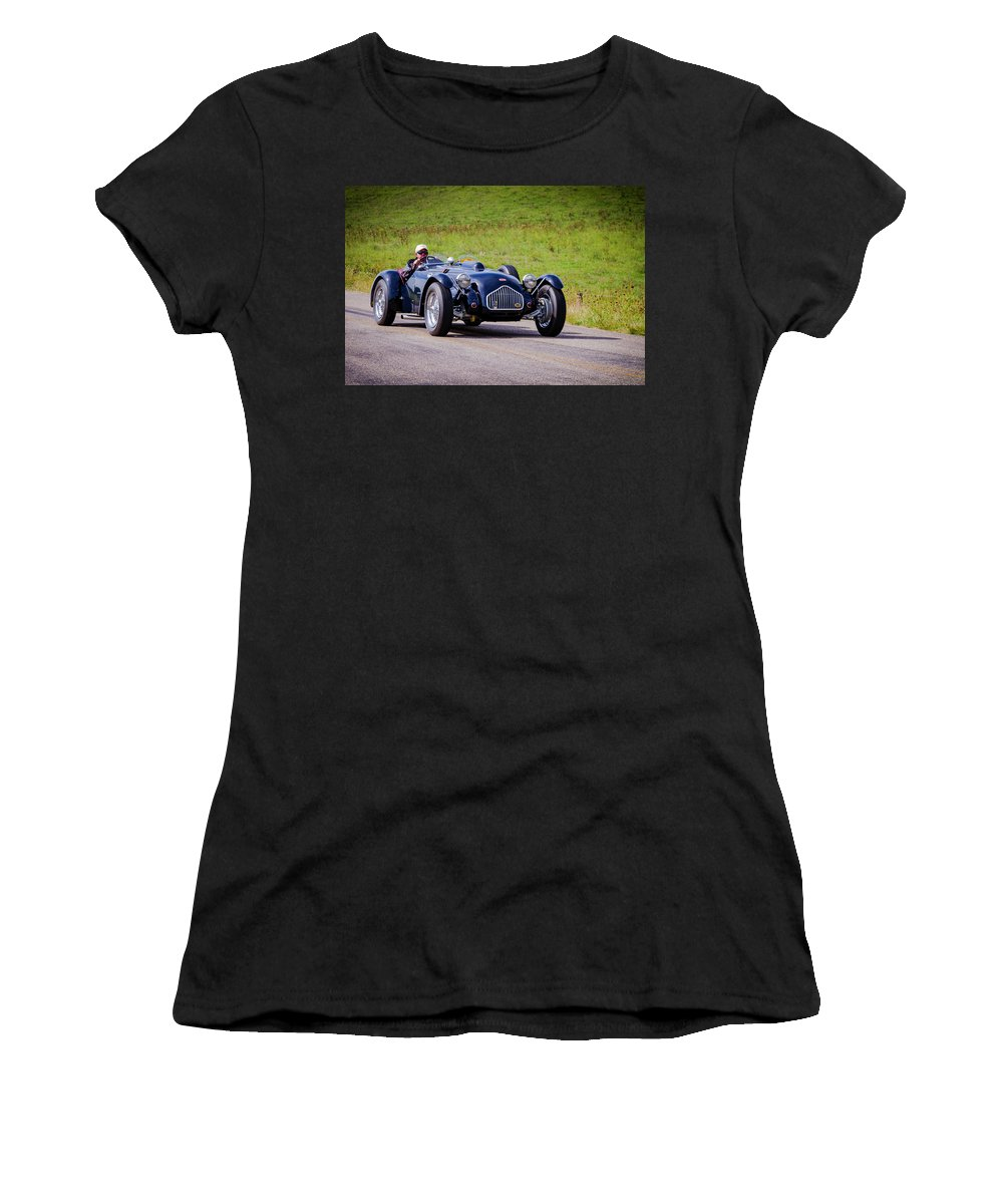 Allard Women's T-Shirt (Athletic Fit) featuring the photograph 1950 Allard J2 Roadster by Jack R Perry
