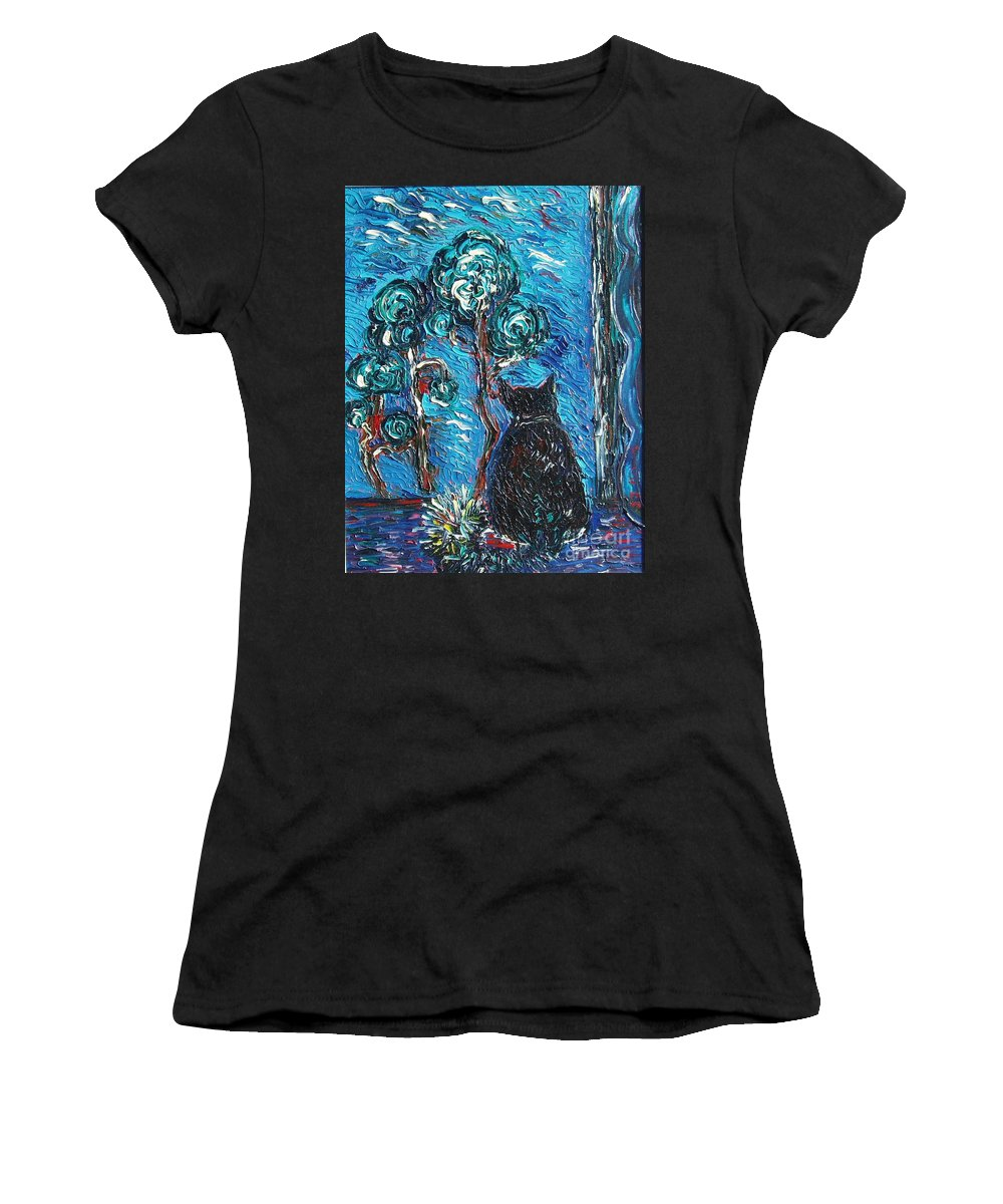 Cat Paintings Women's T-Shirt (Athletic Fit) featuring the painting A Black Cat by Seon-Jeong Kim