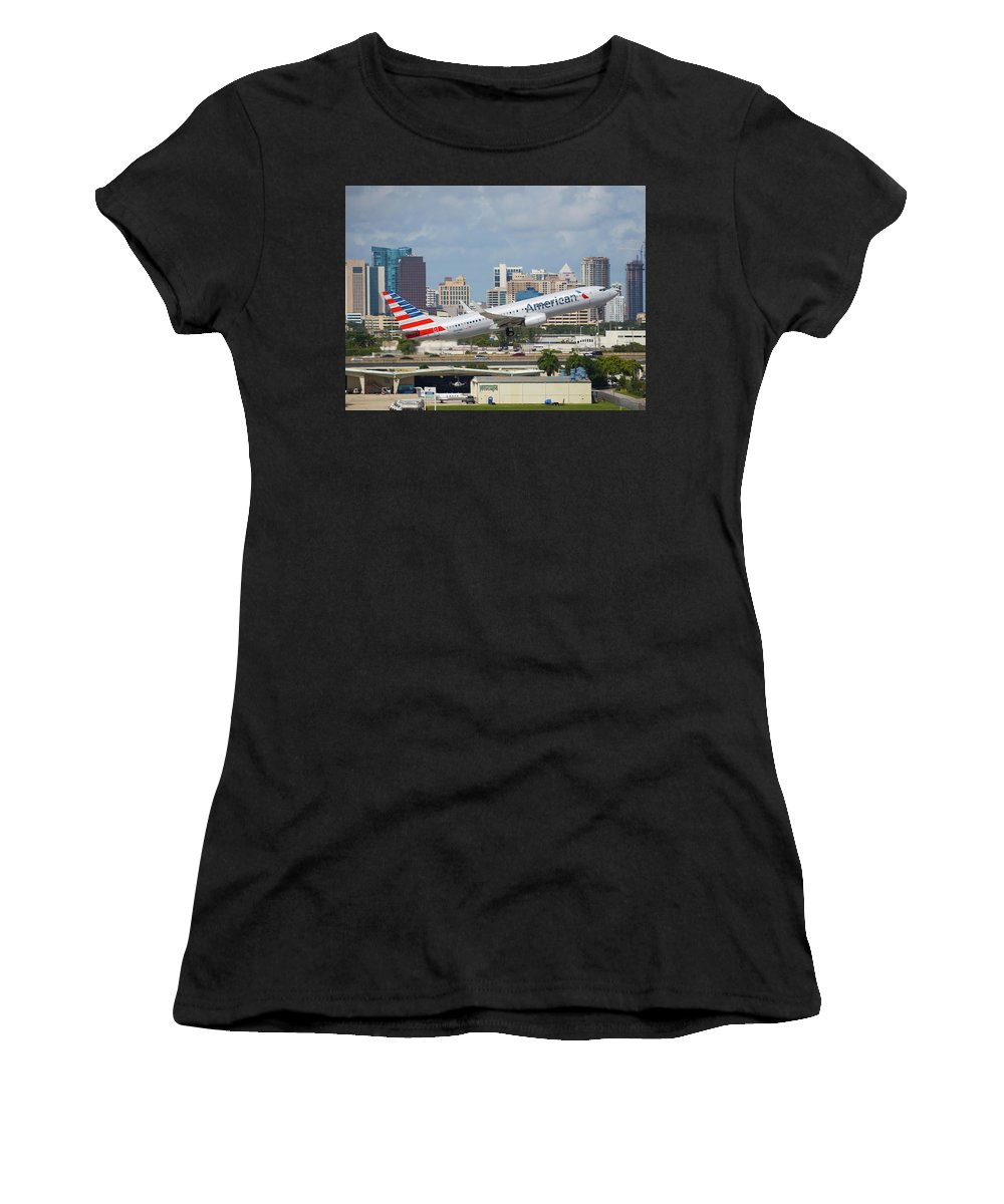 American Women's T-Shirt featuring the photograph American Airlines by Dart and Suze Humeston