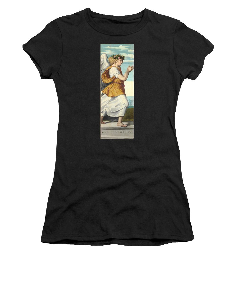 Moretto Women's T-Shirt (Athletic Fit) featuring the digital art An Adoring Angel  by PixBreak Art