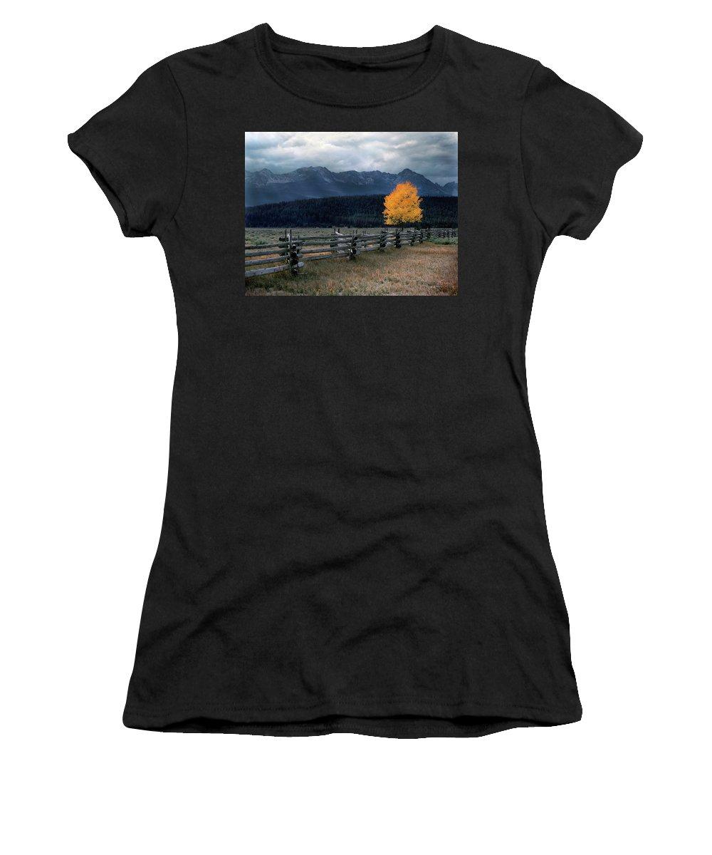 Autumn Light Women's T-Shirt (Athletic Fit) featuring the photograph Autumn Light by Leland D Howard