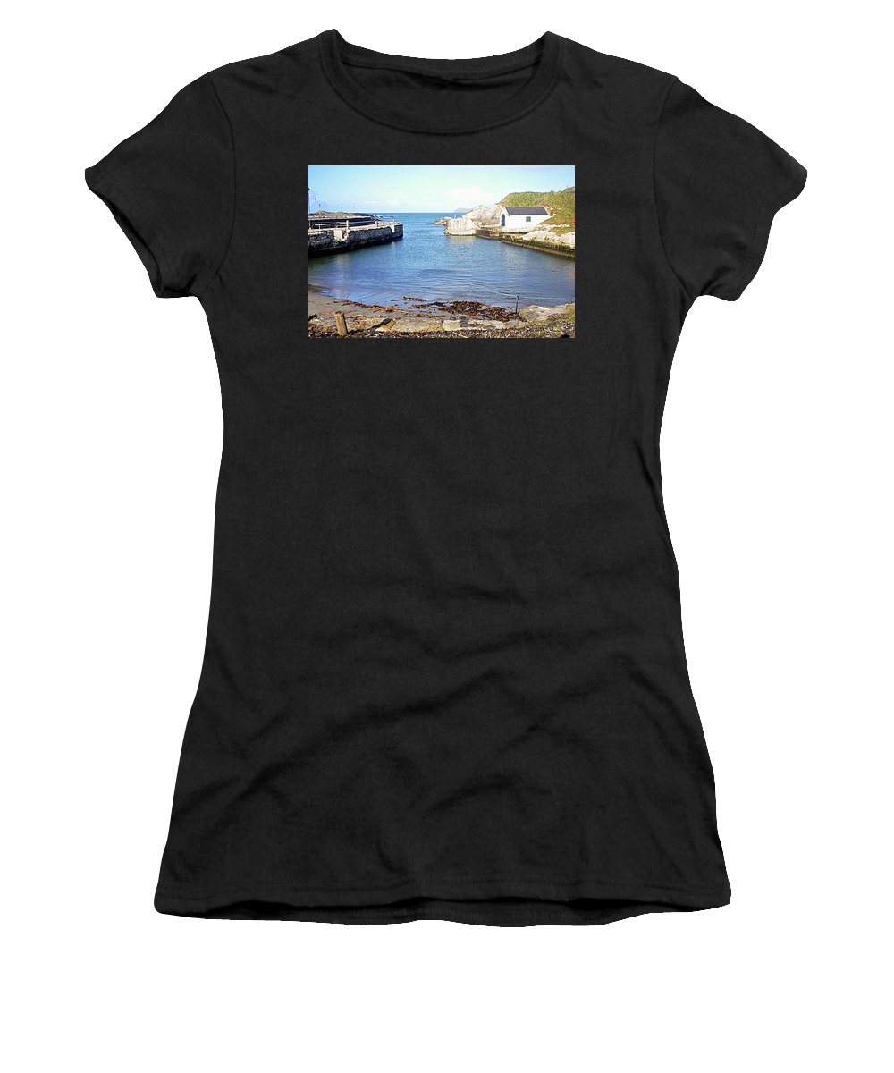 Ballintoy Harbour Women's T-Shirt (Athletic Fit) featuring the photograph Ballintoy Harbour by John Hughes
