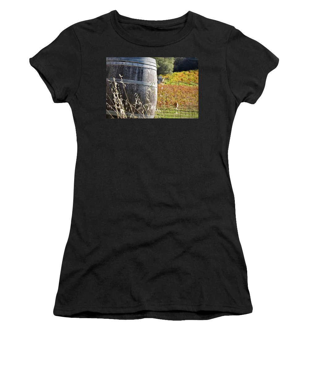 Beer Women's T-Shirt (Athletic Fit) featuring the photograph Barrel In The Vineyard by Brandon Bourdages