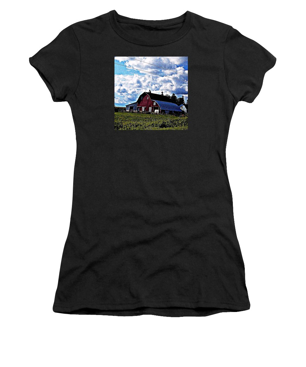 Green Women's T-Shirt (Athletic Fit) featuring the photograph Beautiful Barn by Lori Faircloth