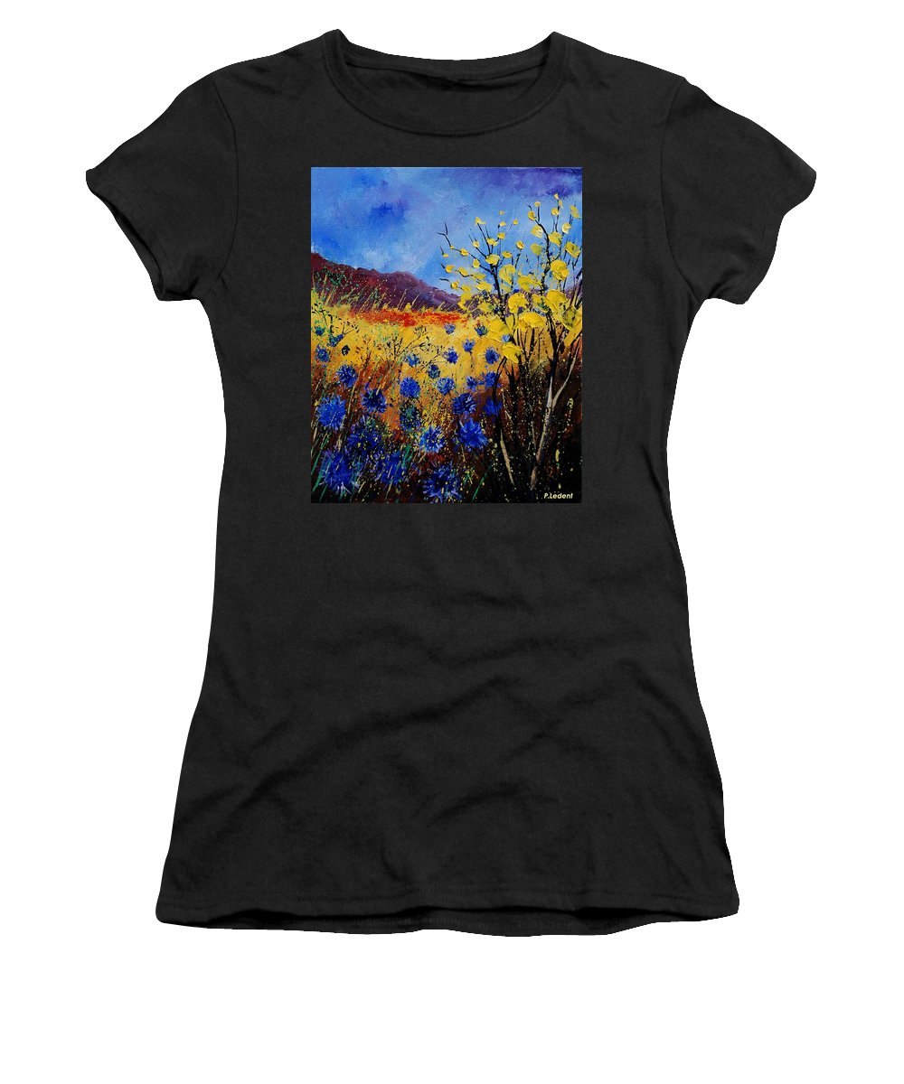 Poppies Flowers Floral Women's T-Shirt (Athletic Fit) featuring the painting Blue Cornflowers by Pol Ledent