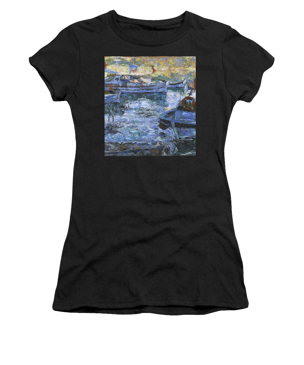 Bay Women's T-Shirt featuring the painting Boats by Robert Nizamov