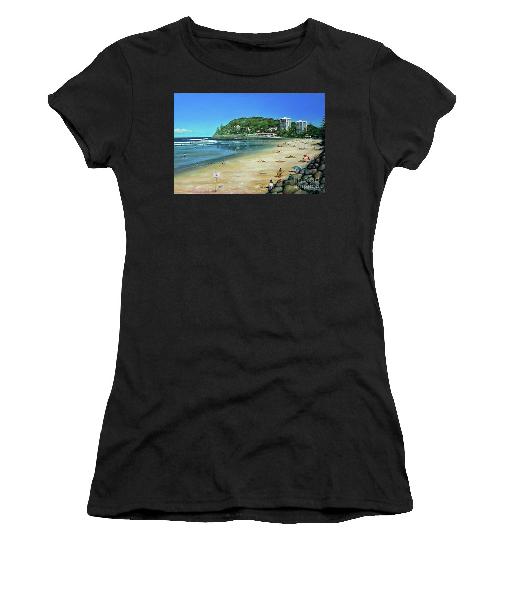 Beach Women's T-Shirt (Athletic Fit) featuring the painting Burleigh Beach 100910 by Selena Boron