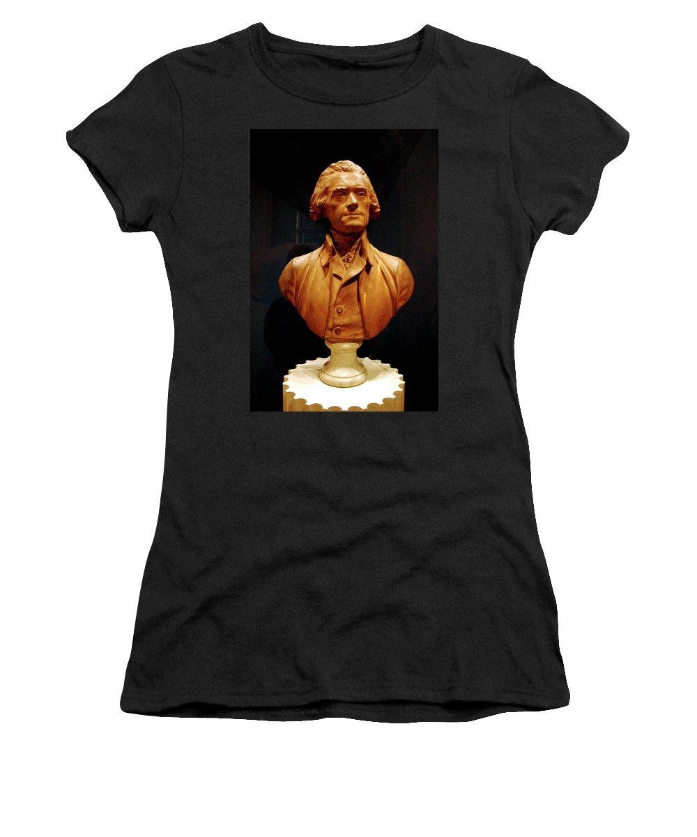 Usa Women's T-Shirt (Athletic Fit) featuring the photograph Bust Of Thomas Jefferson by LeeAnn McLaneGoetz McLaneGoetzStudioLLCcom