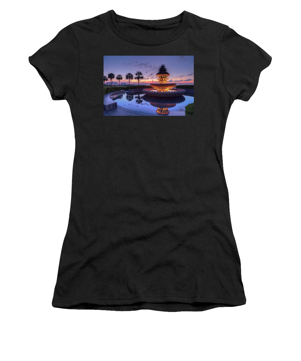 Charleston Pineapple Fountain Women's T-Shirt featuring the photograph Charleston Pineapple Fountain by Todd Wise