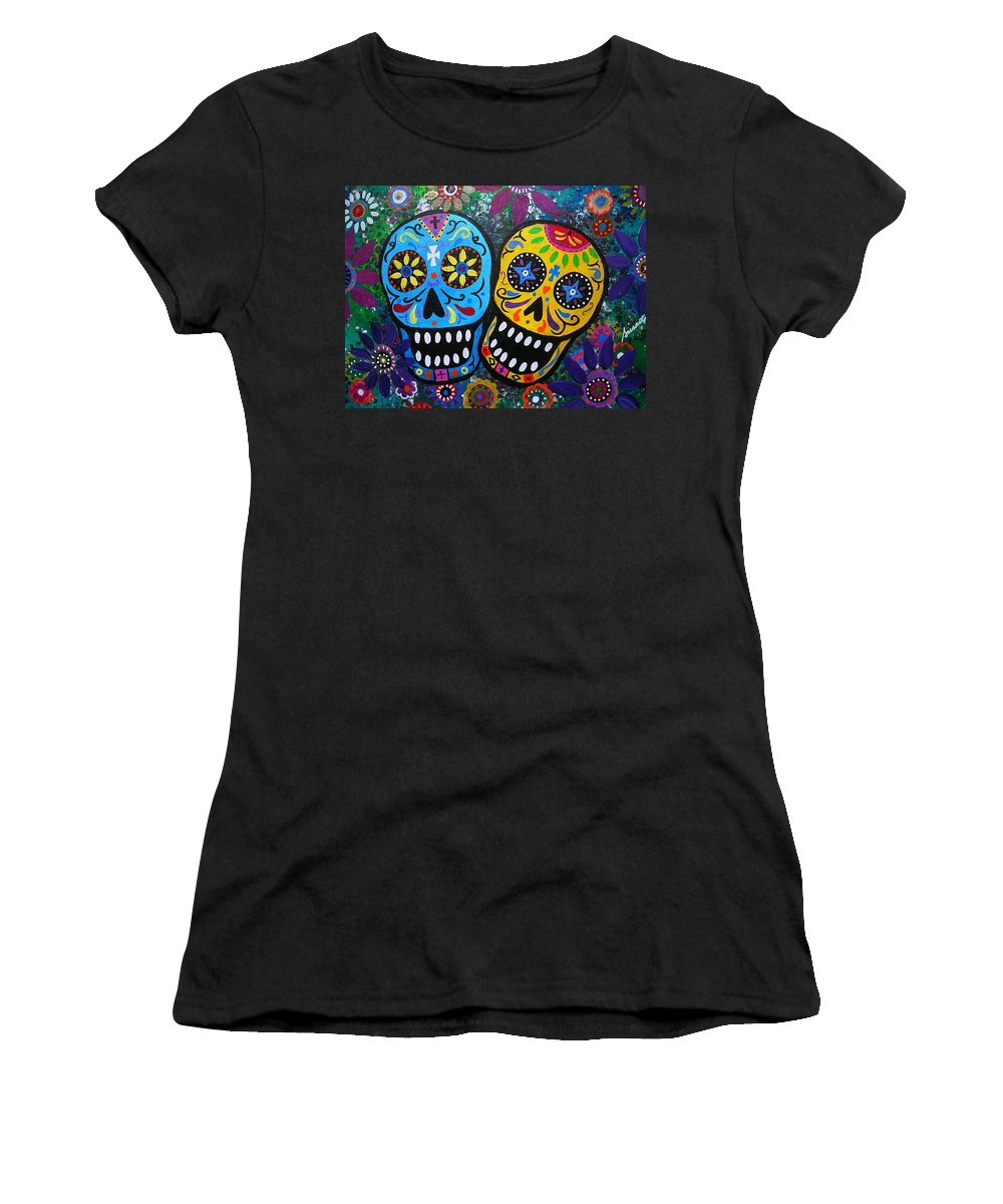 Day Of The Dead Women's T-Shirt featuring the painting Couple Day Of The Dead by Pristine Cartera Turkus