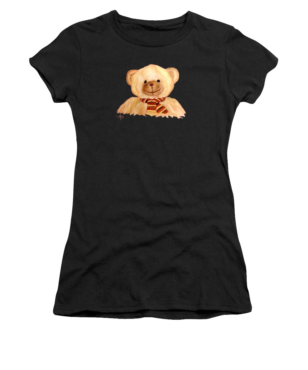 Cuddly Animals Women's T-Shirt featuring the painting Cuddly Bear by Angeles M Pomata