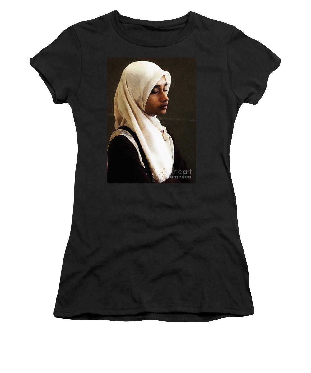 Hijab Women's T-Shirt (Athletic Fit) featuring the photograph Deep In Thought by Sheila Smart Fine Art Photography
