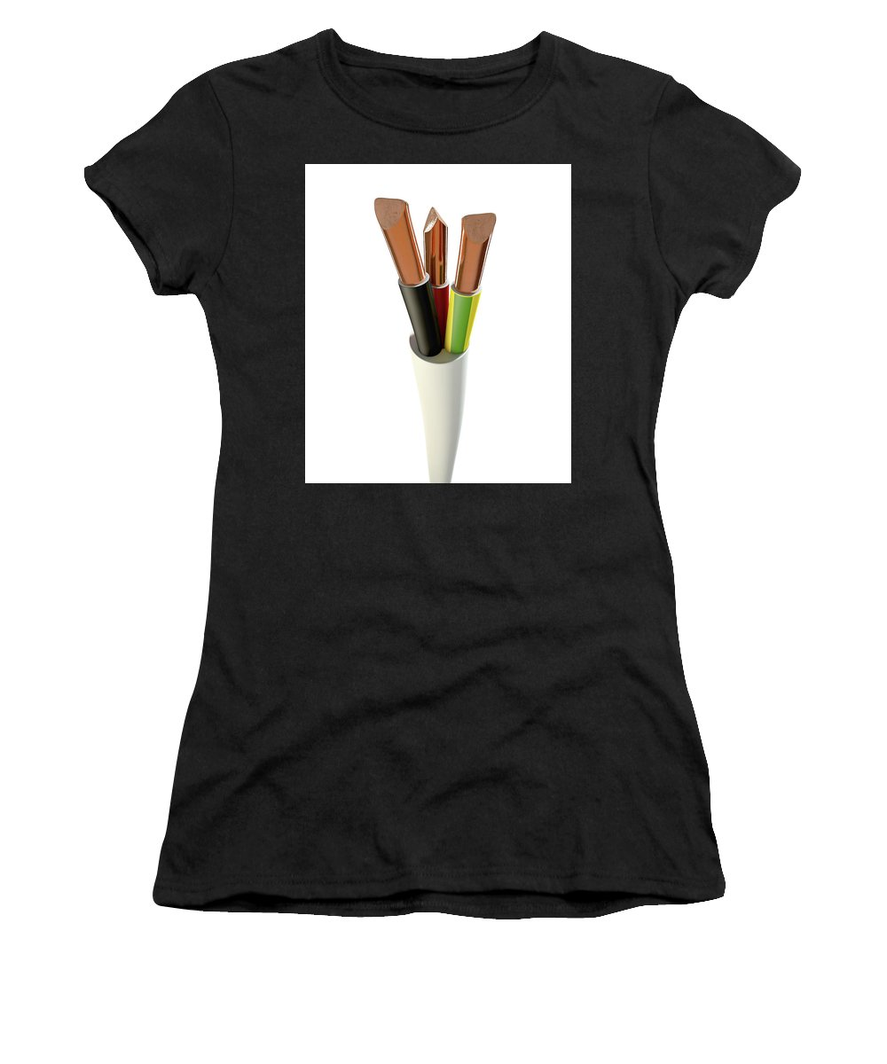 Copper Women's T-Shirt featuring the digital art Electrical Cable by Allan Swart