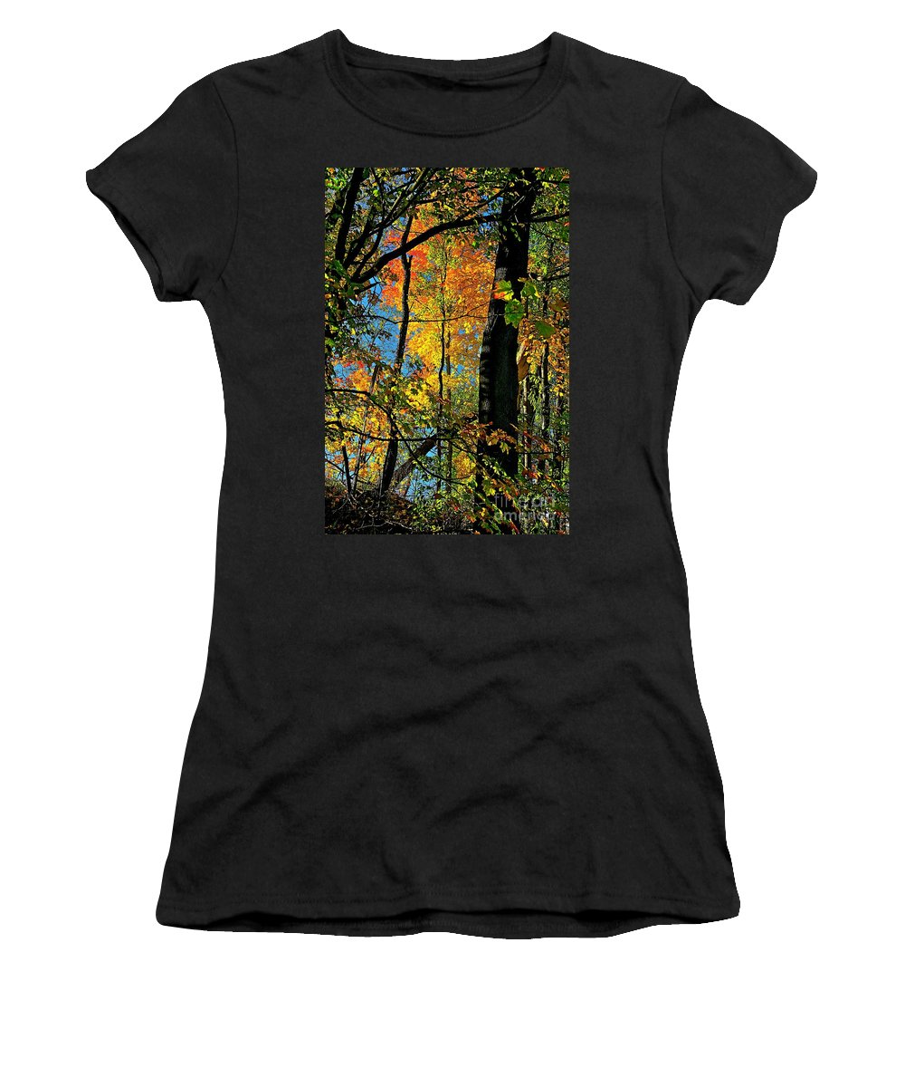 Fall Women's T-Shirt (Athletic Fit) featuring the photograph Fall Fire Works by Robert Pearson