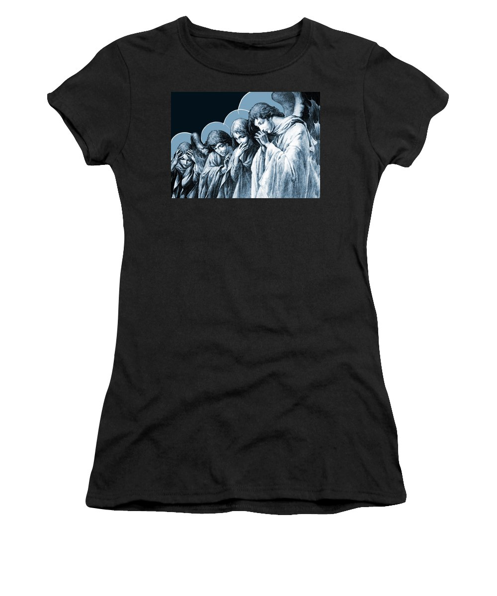 Station 4 Women's T-Shirt featuring the photograph Four Angels by Munir Alawi