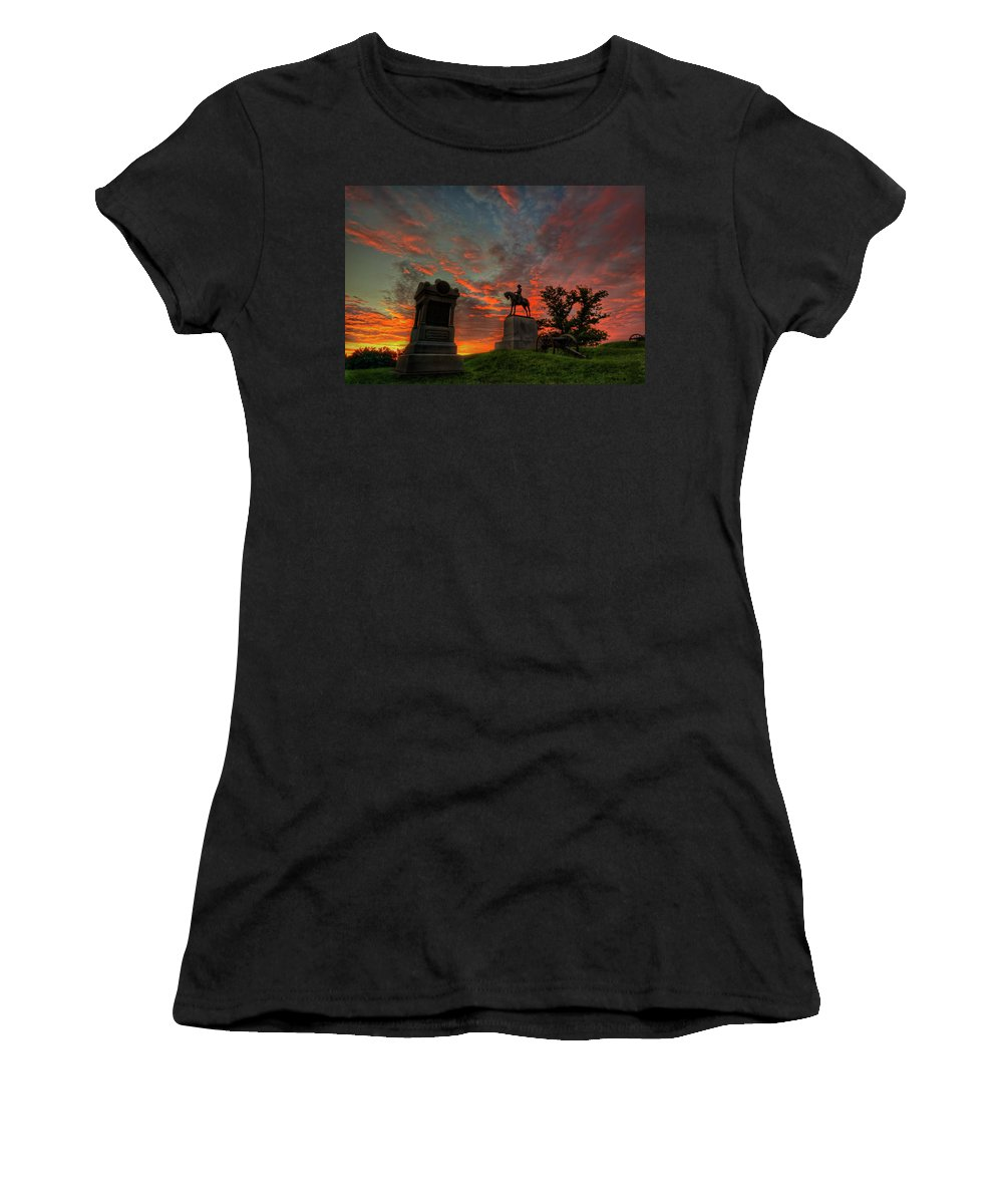 Gettysburg Women's T-Shirt (Athletic Fit) featuring the photograph Gettysburg East Cemetery Hill Sunrise by Craig Fildes